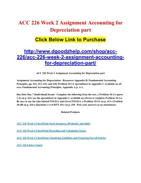 ACC 226 Week 2 Assignment Accounting for Depreciation part