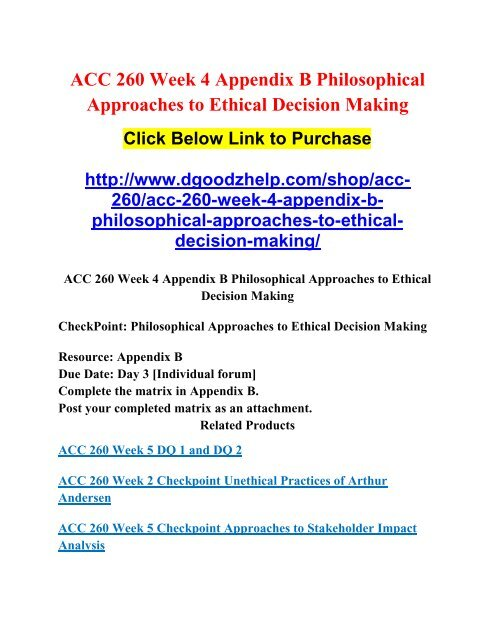 ACC 260 Week 4 Appendix B Philosophical Approaches to Ethical