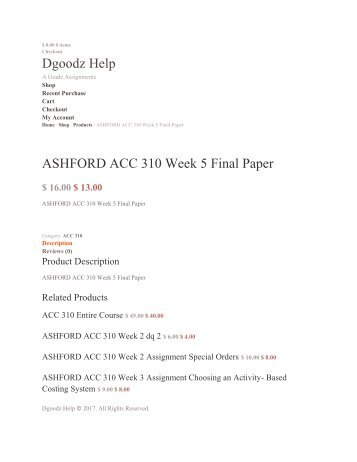 ASHFORD ACC 310 Week 5 Final Paper