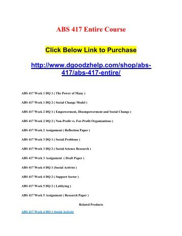 ABS 417 Entire Course