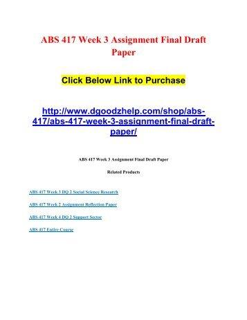 ABS 417 Week 3 Assignment Final Draft Paper