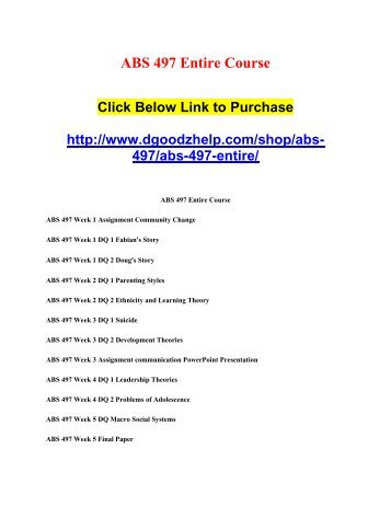 ABS 497 Entire Course
