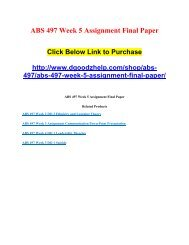 ABS 497 Week 5 Assignment Final Paper