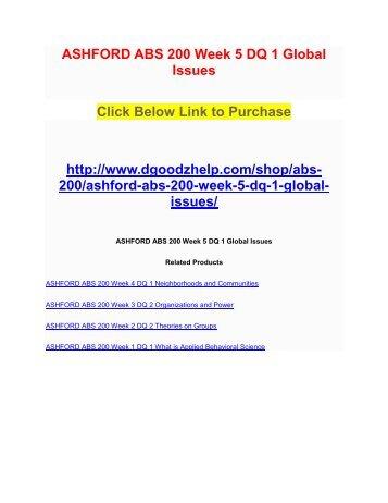 ASHFORD ABS 200 Week 5 DQ 1 Global Issues