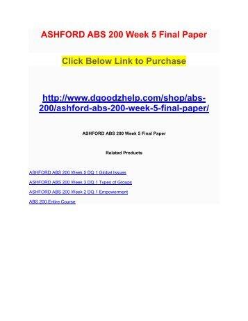 ASHFORD ABS 200 Week 5 Final Paper