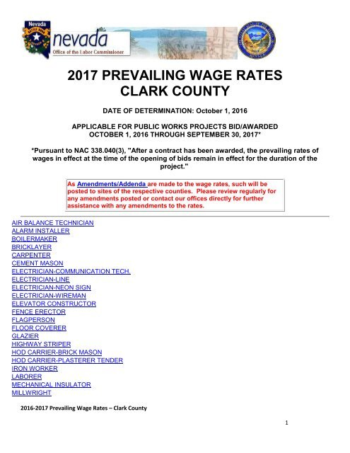 2017 PREVAILING WAGE RATES CLARK COUNTY