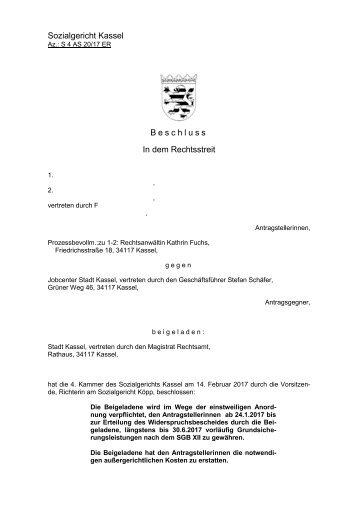 Vorsitzende Anordnung Beigeladene Grundsicherungsleistungen notwendigen