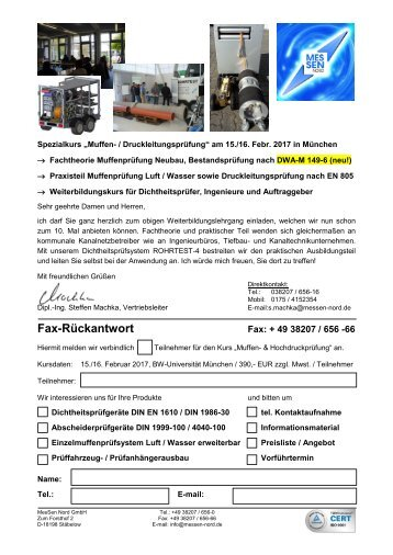 Einladung+Rückfax Spezialkurs Einzelmuffenprüfung+Druckleitungsprüfung München 03-2017