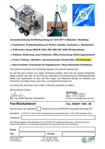 Einladung+Rückfax Anwender- und Interessentenworkshop Dichtheitsprüfung München 03-2017