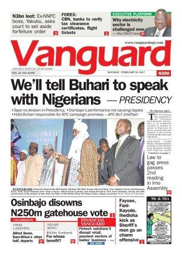 20022017 We'll tell Buhari to speak with Nigerians — PRESIDENCY