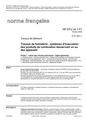 La norme nf dtu 241 for Norme nf dtu 24 1