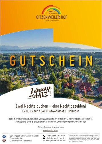 ADAC Gutschein Campingplatz Gitzweiler Hof Lindau / Bodensee