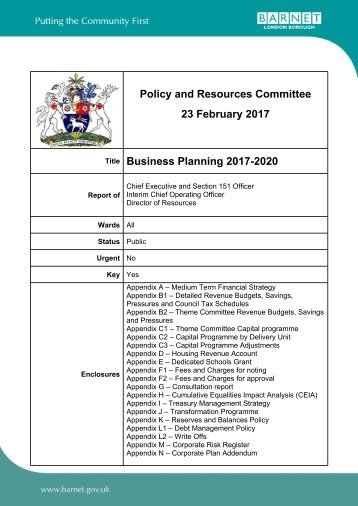 Policy and Resources Committee 23 February 2017 Business Planning 2017-2020