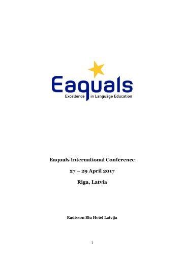 Eaquals International Conference 27 – 29 April 2017 Riga Latvia