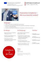 Seminar Compliance: Compliance und Risk-Management für Unternehmer - S&P Unternehmerforum - Produktnummer B01