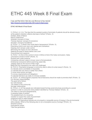 ethc 445 quiz Ethc 445 week 6 quiz answers  ethc 445 week 6 quiz answers to purchase this visit following link:   contact us at: support@activitymodecom ethc 445 week 6 quiz answers ethc 445 week 6 quiz answers (mcqs) 1.