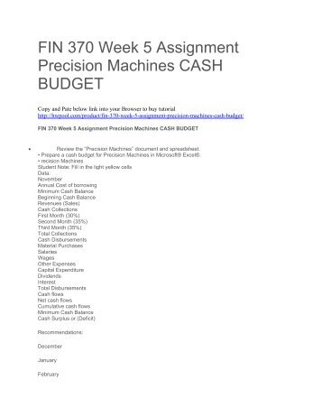 FIN 370 Week 5 Assignment Precision Machines CASH BUDGET