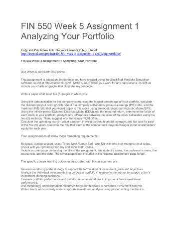 FIN 550 Week 5 Assignment 1 Analyzing Your Portfolio