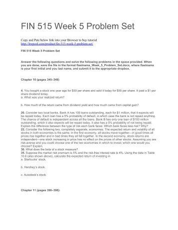 FIN 515 Week 5 Problem Set