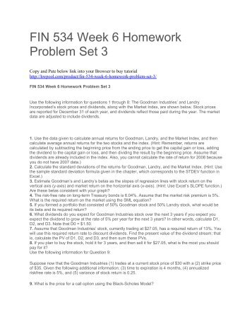 FIN 534 Week 6 Homework Problem Set 3