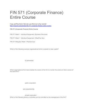FIN 571 (Corporate Finance) Entire Course