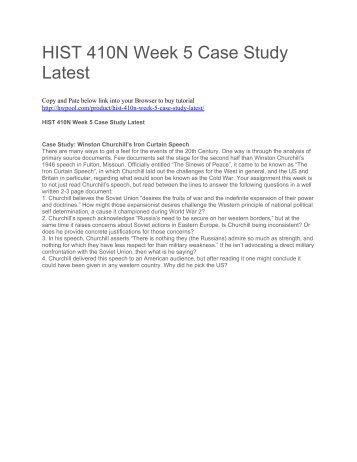HIST 410N Week 5 Case Study Latest