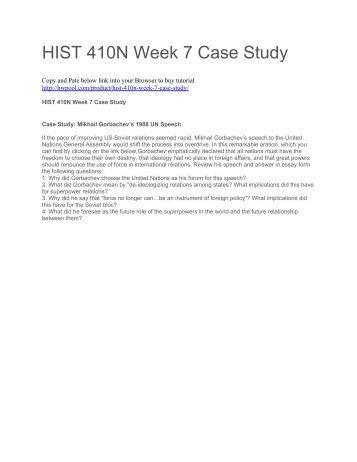 HIST 410N Week 7 Case Study