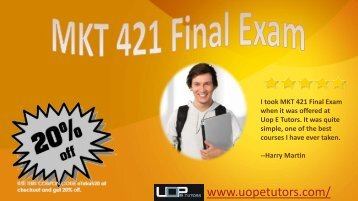 MKT 421 Final Exam Part 2 Pdf Download at Uop E Tutors