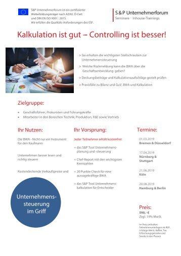 S&P - Seminare - Inhouse Training - Controlling für Ingenieure, Techniker und Naturwissenschaftler - S&P Unternehmerforum