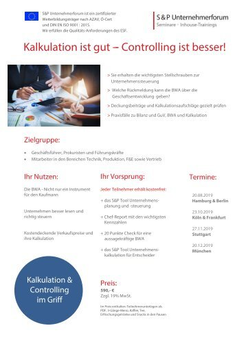 S&P - Seminare - Inhouse Training - Controlling Kompakt - S&P Unternehmerforum