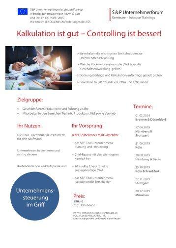 Praxis-Wissen Controlling - S&P Unternehmerforum - S&P - Seminare - Inhouse Training