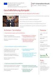 S&P - Seminare - Inhouse Training - Geschäftsführung Kompakt - S&P Unternehmerforum