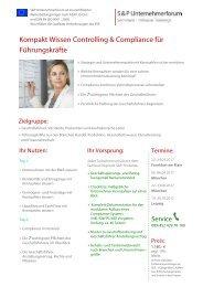 S&P - Seminare - Inhouse Training - Kompakt Wissen Controlling & Compliance für Führungskräfte - S&P Unternehmerforum
