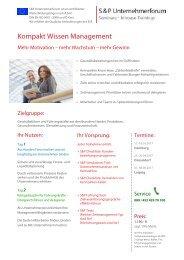 S&P - Seminare - Inhouse Training - Kompakt Wissen Management - S&P Unternehmerforum