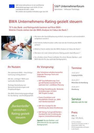 S&P - Seminare - Inhouse Training - BWA Unternehmens-Rating gezielt steuern - S&P Unternehmerforum