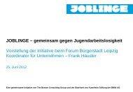 JOBLINGE – gemeinsam gegen Jugendarbeitslosigkeit Vorstellung der ...