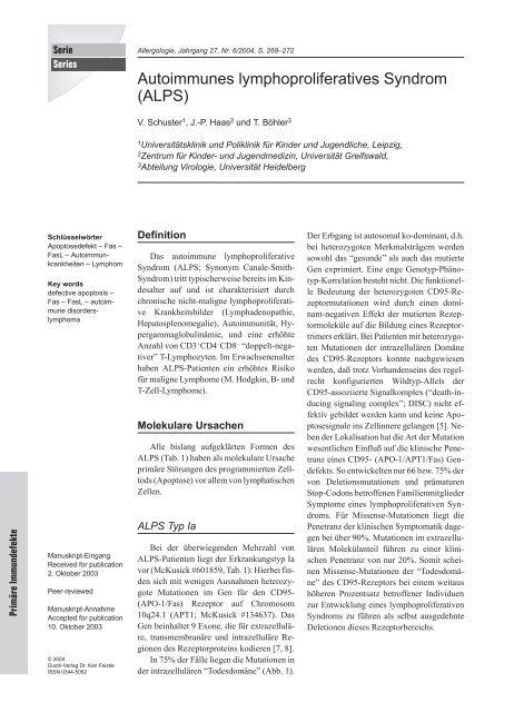 Autoimmunes lymphoproliferatives Syndrom (ALPS)