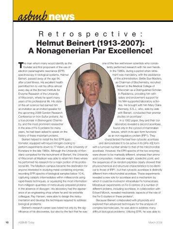 Helmut Beinert - asbmb