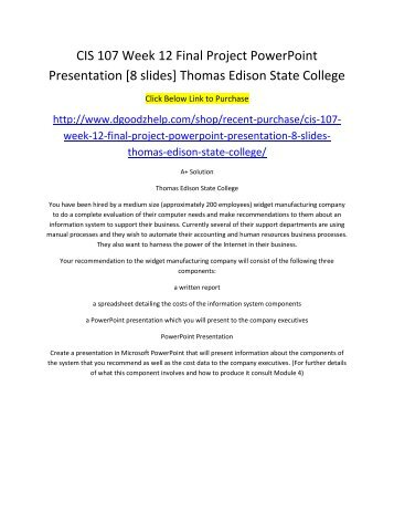 cis 105 final project powerpoint presentation Tutorialoutlet is a online tutorial store we provides hca 230 week 9 final project interpersonal communication presentation (uop.