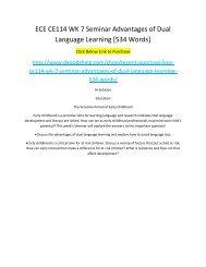 ECE CE114 WK 7 Seminar Advantages of Dual Language Learning