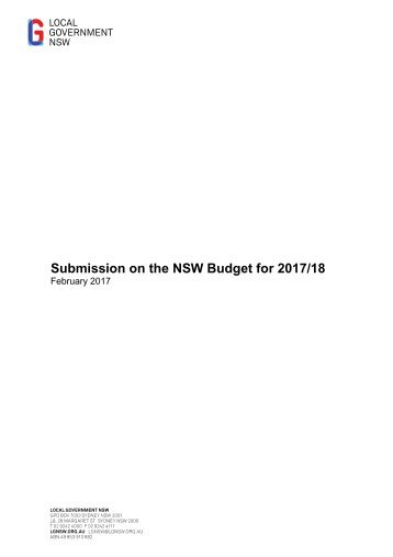 Submission on the NSW Budget for 2017/18
