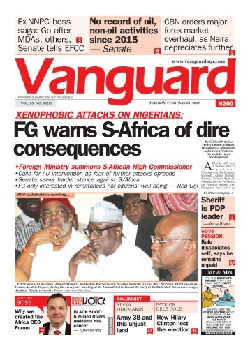 21022017 XENOPHOBIC ATTACKS ON NIGERIANS: FG warns S-Africa of dire consequences