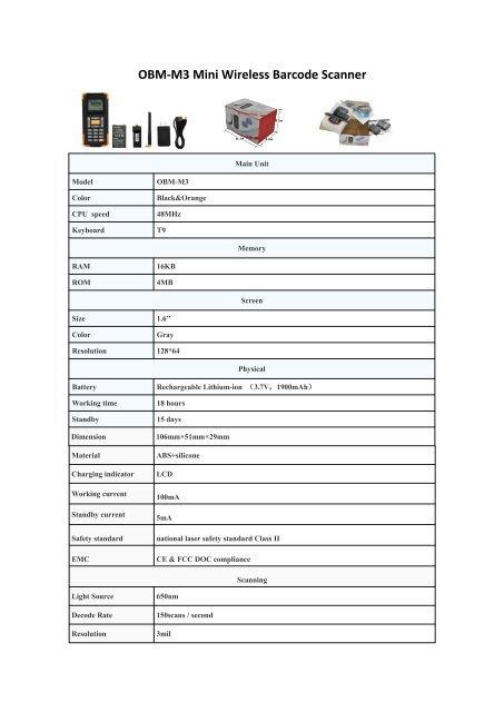 OBM-M3 Wireless Inventory Barcode Scanner