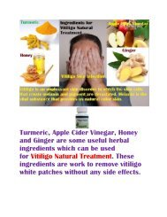 Ingredients for Vitiligo Natural Treatment