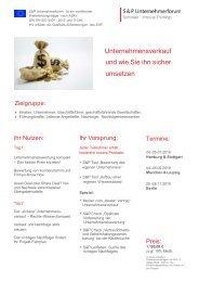 Seminar Firmenbewertung & Nachfolge: Unternehmensnachfolge erfolgreich gestalten - S&P Unternehmerforum - Produktnummer: D01