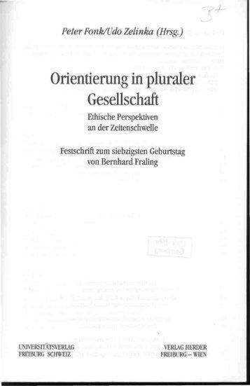 Peter Fonk/Udo Zelinka (Hrsg.) Orientierung in - Theologische ...
