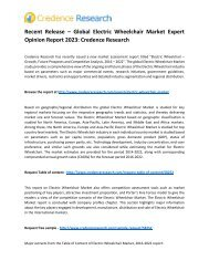 Recent Release – Global Electric Wheelchair Market Expert Opinion Report 2023: Credence Research