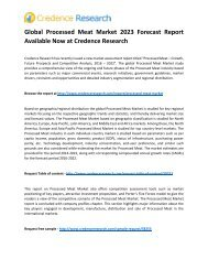 Global Processed Meat Market 2023 Forecast Report Available Now at Credence Research