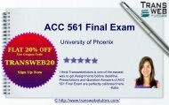 Accounting ACC 561 Final Exam Question with Answers