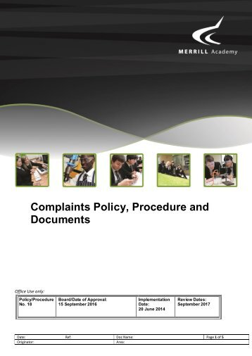 Complaints Policy Procedure and Documents